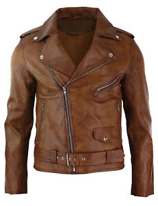 Mens Slim Fit Brown Classic Motorcycle Real Leather Jacket