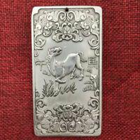 Old Chinese Tibet Silver Children Kwan-yin Guanyin Buddha Thanka Amulet Pendant