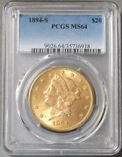1894 S Gold Us $20 Liberty Head Pcgs Mint State 64 Double Eagle Coin
