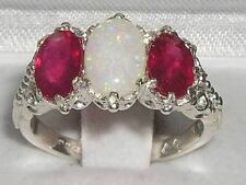 Victorian Design Solid English Sterling Silver Natural Large Opal & Ruby  Ring