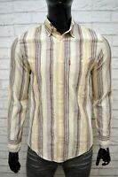 LEVI'S Uomo Camicia a Righe Camicetta Taglia M Maglia Shirt Man Cotone Slim Hemd