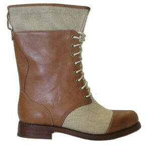 Timberland Womens Ladies  Lucille Lace Up Fold Tan Leather Canvas Boots Size UK