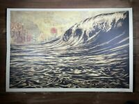 SIGNED! Shepard Fairey DARK WAVE Original Art Print Poster Obey Giant 24 x 36 in