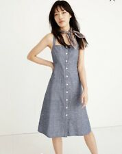 NWT Madewell Women's Chambray Tank Button Front Midi Dress Blue Royal Sz 6