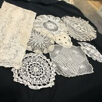Vintage Hand Crocheted Doilies Lot of 8 Ivory Cutter Craft Repair Fine Needle