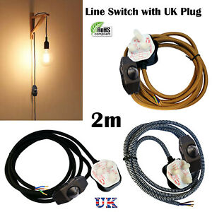 Styles 8 Colours 3Pin UK Plug with Switch 3 Core Braided Fabric Cable Vintage 2M