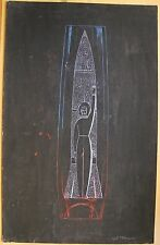Russian Ukrainian Soviet Painting sketch crystal vase space rocket astronaut