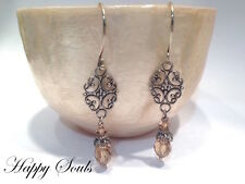 .925 STERLING SILVER EARRINGS WITH LIGHT COLORADO TOPAZ SWAROVSKI CRYSTAL DROPS