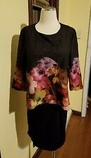 TED BAKER $275 NWT! CADIE Black Pink Floral Zip Back Detail Dress TED Size 2