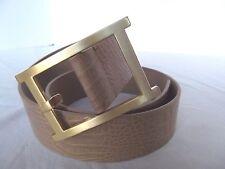 Talbot leather tan S belt faux croc brush matte gold asian modern Large buckle