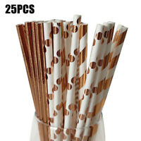 KQ_ 25Pcs Disposable Kraft Paper Drinking Straws Xmas Wedding Party Home Supplie
