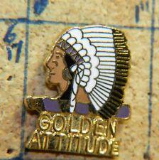 "GOLDEN ATTITUDE NATIVE AMERICAN HEADDRESS GOLDTONE 1"" METAL LAPEL PIN"