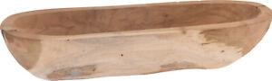 40cm Rustic Teak Hand Carved Wooden Bowl Fruit Bread Canoe Shape Display Bowl