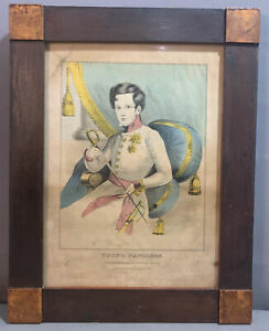 19thC Antique YOUNG NAPOLEON PORTRAIT Old N. CURRIER PRINT Old PRIMITIVE FRAME