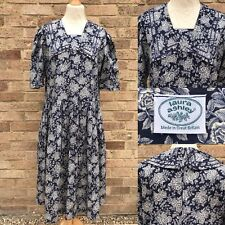 "Vintage Laura Ashley Dress UK 16 Blue Floral Cotton Bust 40"" Sailor Collar 80s"