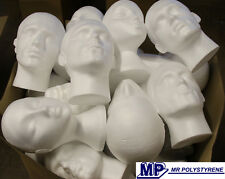 MINIMUM 8 VARIOUS DAMAGED POLYSTYRENE HEADS I WILL SEND EXTRA WHERE POSSIBLE