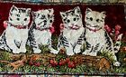 """Vintage Plush Velvety Kittens Tapestry 4 Kittens Wall Hanging or Rug 37"""" X 19"""""""