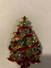 CHRISTMAS TREE BROOCH PIN Colored Crystals, Green Enamel, Gold-tone Alloy