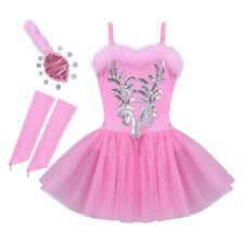 Kids Girls Ballet Dance Dress Party Ballerina Tutu Leotard Swan Costume Outfits