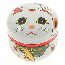 Japanese 100g White Rich & Health Maneki Neko Cat Tin Tea Canister Made in Japan