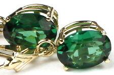 • E107, 10x8mm Russian Nano Emerald, 14k Yellow Gold Leverback Ladies Earrings