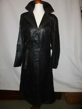 VINTAGE British made nero vera pelle Trench si adatta taglia UK 10/12