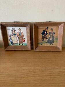 Pair of 30's 40's Austrian Tourist Paintings Salzburg Souvenirs Wooden Frames