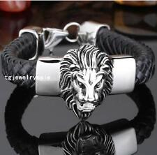 Mens Jewelry 316L Stainless Steel Tiger Black Genuine Leather Chain Bracelet