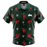 Sth Syd Rabbitohs NRL 2021 Tribal Hawaiian Button Up Polo Shirt Sizes S-5XL!