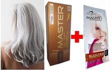 Hair COLOUR Permanent Hair Dye Cream SILVER TITANIUM BLONDE + WHITE BLEACH KIT