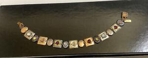 Holly Yashi ROMANCE Bracelet Linked Nobium Signed Sterling Gold Filled Stones