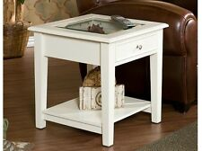 Solid Wood Shadow Box Display Side End Table Glass Top Drawer Shelf Off White