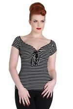 Cotton Blend V Neck Fitted Striped Tops & Shirts for Women
