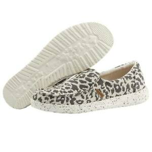 Hey Dude Women's Wendy Misty Woven Cheetah Grey Shoes Slip On Comfortable Casual
