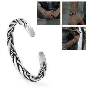 925 Sterling Silver Men Thai Handmade Vintage Open Bangle Twisted Cuff Bracelets