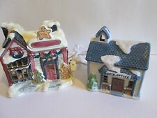 (M) 2 Christmas Porcelain Houses: 1-Post Office & 1-House