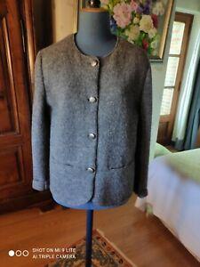 """jolie veste Autrichienne en laine foulée grise, """"Giesswein"""", taille 42/44"""
