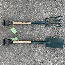 Andersons Carbon Steel Digging Spade & Fork Soft Grip Handle Hardwood Shaft