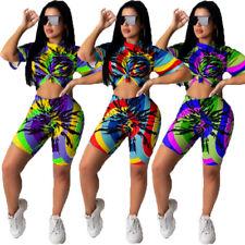 NEW Women Stylish Short Sleeves Tie Dye Print O Neck Casual Jumpsuit 2pcs Summer