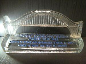 VINTAGE AUSTRALIA SYDNEY HARBOUR BRIDGE PRESSED GLASS PAPER WEIGHT ART DECO