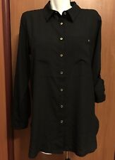 Calvin Klein Women Blouse Large Black Button Down Golden Logo New NWT roll tab