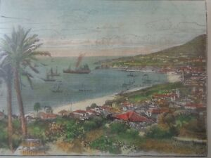 PORTUGAL OLD MADEIRA FUNCHAL ENGRAVING