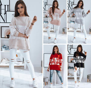 Sweatshirt Langarmshirt Damenpullover Aufdruck Oversize Damen DSTREET