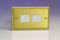 Varilight 4-Gang 10A 1- or 2-Way Rocker Light Switch (Twin Plate) Georgian Brass