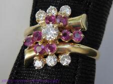 Ruby & Diamond 18k Yellow Gold Estate Cocktail Ring size 6.50