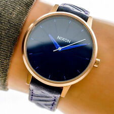 Nixon Womans The Kensington Watch Gold Blue Dial Leather Band 50m Working