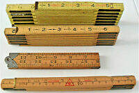 Lot of 4 Vintage Folding Wooden Rulers including a 1930's Model