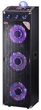 "QFX Triple 12"" Cabinet PA LED Disco Bluetooth Speaker USB SD MP3 Player"