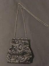 F & F Black Evening Clutch Bag handbag silverware beaded