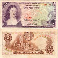 Colombia 2 Pesos Oro P#413a (1972) Banco de la República VF